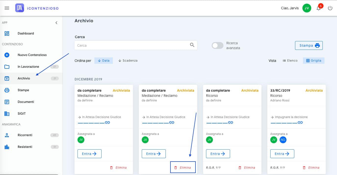 main menu archivio e elimina | iContenzioso